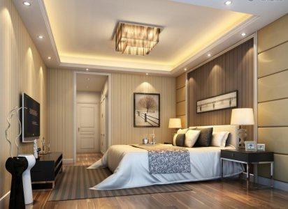 jasna sypialnia doświetlona LED